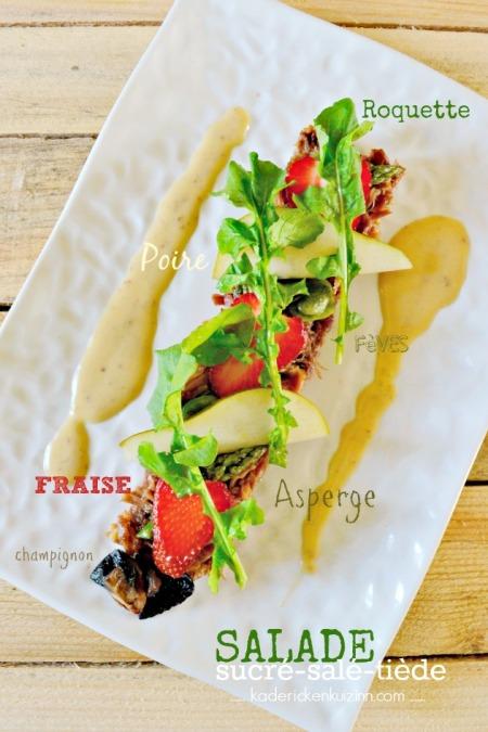 Degustation-salade-confit-canard-fraise-roquette