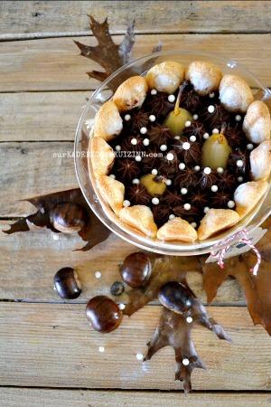 Degustation charlotte poires ganache chocolat creme marron