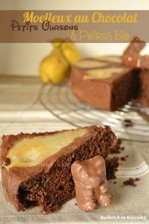 Degustation moelleux chocolat petits oursons guimauve poires bio